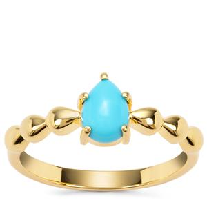 Sleeping Beauty Turquoise Ring in Gold Plated Sterling Silver 0.69ct