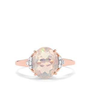 Ethiopian Opal Ring with Diamond in 9K Rose Gold 1.54cts
