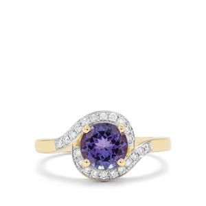 AAA Tanzanite & Diamond 18K Gold Ring MTGW 1.50cts
