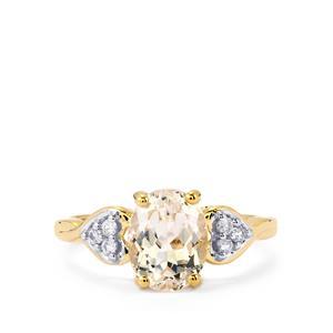 Ice Kunzite & Ceylon White Sapphire 10K Gold Ring ATGW 2.52cts