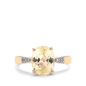 Canary Kunzite & Diamond 9K Gold Ring ATGW 3.54cts
