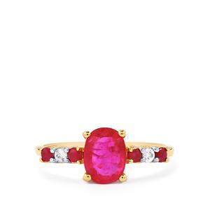 Montepuez, Malagasy Ruby & Ceylon White Sapphire 10K Gold Ring ATGW 1.68cts (F)