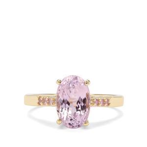 Natural Kunzite & Sakaraha Pink Sapphire 9K Gold Ring ATGW 3.37cts