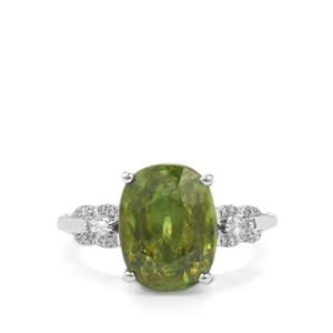 Ambilobe Sphene Ring with Diamond in 18K White Gold 6.81cts