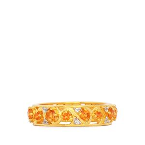 Padparadscha Topaz Ring with White Topaz in Gold Plated Sterling Silver 1.08cts