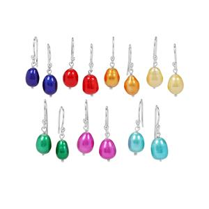 Multi-Colour Kaori Cultured Pearl in Sterling Silver Set of 7 Earrings