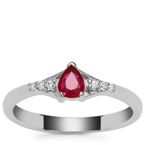 Montepuez Ruby Ring with White Zircon in Sterling Silver with 18K Gold Prong 0.37ct