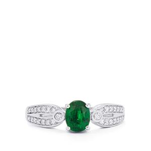 Tsavorite Garnet & Diamond 18K White Gold Tomas Rae Ring MTGW 1.27cts