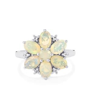 Ethiopian Opal & White Topaz Sterling Silver Ring ATGW 2cts
