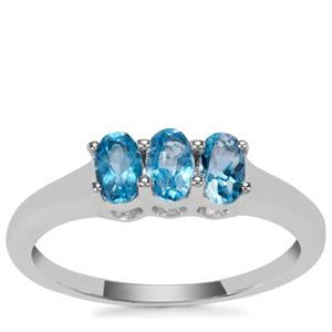 Swiss Blue Topaz Ring in Sterling Silver 0.73ct
