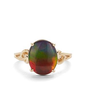 AA Ammolite Ring  in 9K Gold  (12x10mm)