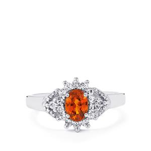 Cognac Zircon Ring with White Topaz in Sterling Silver 1.65cts