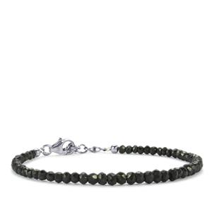 Black Spinel Graduated Bead Bracelet in Sterling Silver 24cts