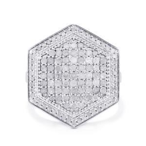 1ct Diamond Sterling Silver Ring