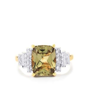 Csarite® Ring with Diamond in 18K Gold 3.88cts
