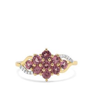 Malaya Garnet & Diamond 9K Gold Ring ATGW 1.30cts