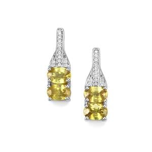 Ambilobe Sphene Earrings with Diamond in 18K White Gold 2.65cts