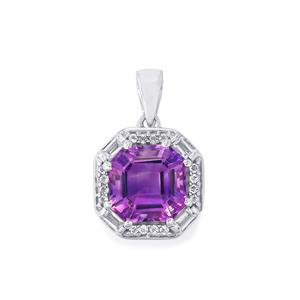 Moroccan Amethyst Pendant with White Topaz in Sterling Silver 4.69cts