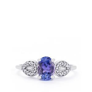 AA Tanzanite & Diamond 10K White Gold Ring ATGW 1.05cts