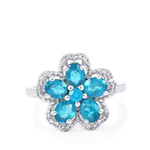 Madagascan Blue Apatite & White Zircon Sterling Silver Ring ATGW 1.97cts