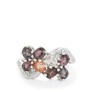 Burmese Multi-Colour Spinel & Diamond Sterling Silver Ring ATGW 3.51cts