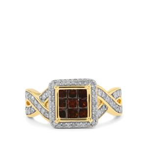 White Diamond Ring with Red Diamond in 9K Gold 1cts