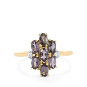 Mahenge Purple Spinel Ring with White Sapphire in 10k Gold 1.79cts