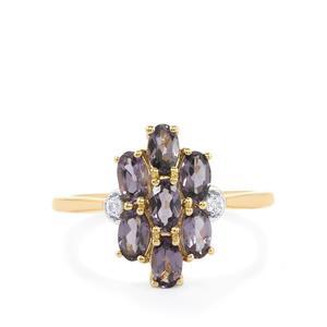 Mahenge Purple Spinel & White Sapphire 10K Gold Ring ATGW 1.79cts