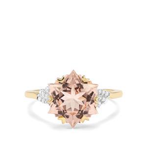 Wobito Snowflake Cut Alto Ligonha Morganite & Diamond 9K Gold Ring ATGW 4.16cts