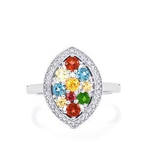 1.15ct Kaleidoscope Gemstones Sterling Silver Ring