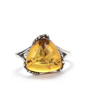 Baltic Cognac Amber Ring in Sterling Silver (12mm)