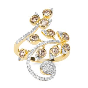 """""""Paradise Ring"""" Champagne Diamond Ring with White Diamond in 9K Gold 1.05cts"""