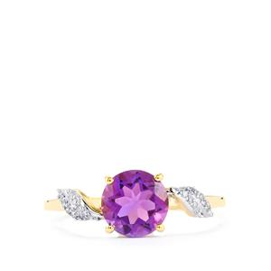 Kenyan Amethyst Ring with Diamond in 9K Gold 1.22cts
