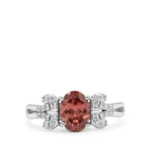 Zanzibar Zircon Ring with Diamond in 18K White Gold 2cts