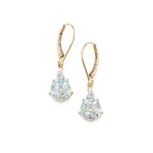 Lehrer QuasarCut Sky Blue Topaz & Diamond 10K Gold Earrings ATGW 4cts