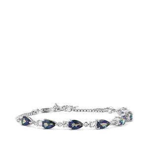 Mystic Blue Topaz Bracelet with White Topaz in Sterling Silver 7.87cts