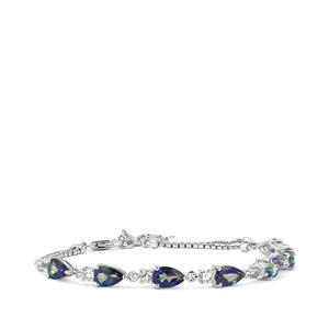 7.87ct Mystic Blue & White Topaz Sterling Silver Bracelet
