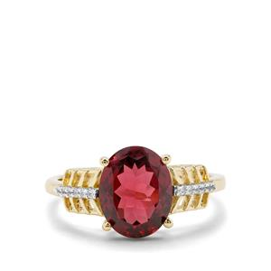 Morogoro Garnet Ring with Natural Zircon in 9k Gold 2.79cts