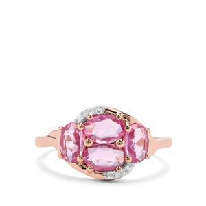 Sakaraha Pink Sapphire & Diamond 9K Rose Gold Ring ATGW 1.60cts