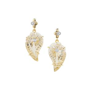 Lehrer Flame Cut Champagne Quartz Earrings with Diamond in 9K Gold 15.75cts