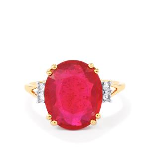 Fissure-Filled Ruby Ring with White Sapphire in 10k Gold 8.41cts (F)