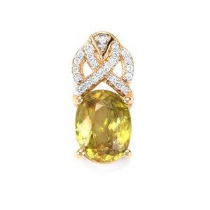 Ambilobe Sphene & Diamond 18K Gold Tomas Rae Pendant MTGW 3.41cts