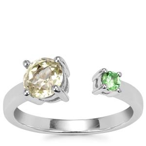 Sillimanite Ring with Tsavorite Garnet in Sterling Silver 1.15cts