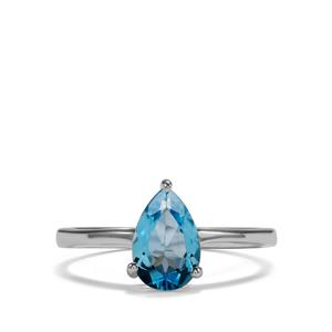 1.43ct Swiss Blue Topaz Sterling Silver Ring