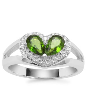 Chrome Diopside Ring with White Zircon in Sterling Silver 1.23cts