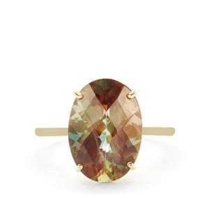 Green Colour Change Andesine Ring in 9K Gold 5.02cts