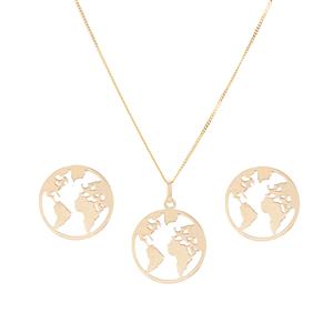 9K Gold Set of World Map Earrings & Pendant with Chain 1.61g