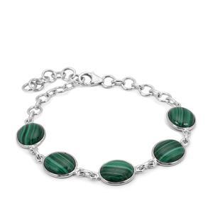 Malachite Bracelet in Sterling Silver 24.44cts