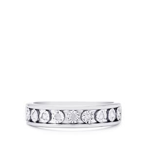 1/8ct Diamond Sterling Silver Halo Diamonds Ring