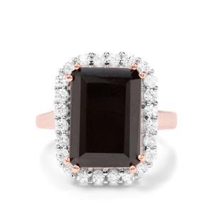 Black Spinel & White Zircon Rose Midas Ring ATGW 8.30cts